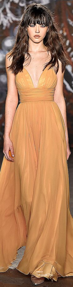 Jenny Packham Fall 2015  -- an option for the bodice. might look a little too bridesmaid-y though. widen the waist belt to hourglass shape to skim over hips?