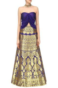 Reeti Arneja Blue Banarasi Lehenga Set Pernia's pop up shop - bodice detail idea