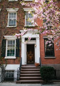 townhouse and cherry blossoms