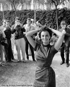 Sophia Loren posing for the photographers, Lido, Venice, 1958.