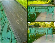 """Grand and beautiful! Vintage buffet painted with a custom color of my own (sea glass) mixed with Sugarfoot Chic chalk powder mix. Top painted Parisian grey and french poem stencil for added awesome. Also hand rubbed dark and clear wax. Whew! This baby was worth the work! Tons of storage in cabinets and drawers. 67""""W 37""""H 22""""D"""