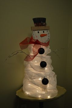 Tomato cage, deco mesh, sheet, 100 white corded lights and Dollar General face= gorgeous snowman