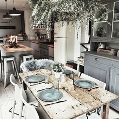 Rustic Kitchen of - Architecture and Home Decor - Bedroom - Bathroom - Kitchen And Living Room Interior Design Decorating Ideas - Home Decor Kitchen, Rustic Kitchen, Country Kitchen, Home Kitchens, Kitchen Dining, Rustic Table, Diy Table, Rustic Farmhouse, Farmhouse Style