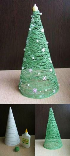 Sapin de Noel en fil – Christmas tree in thread – # wire # Christmas Christmas Tree Yarn, Christmas Crafts, Christmas Decorations, Christmas Ornaments, Holiday Decor, Navidad Diy, Navidad Ideas, Easy Diy, Coin