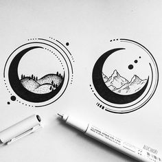 — geometric landscape moons // more drawings on my...