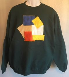 Adult Sweatshirt Geometric Applique Design Size Large Hanes Dark Green by AlwaysInStitchesCo on Etsy