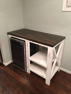 Turn it into a coffee bar with a mini fridge for creamers and the like with a . - Turn it into a coffee bar with a mini fridge for creamers and the like with a few shelves … – # - Diy Home Bar, Bars For Home, Diy Home Decor, Diy Bar, Mini Bar At Home, Home Wine Bar, Cool Mini Fridge, Mini Fridge Decor, Outdoor Mini Fridge