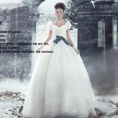 Cute White Short Sleeve Gothic Lolita Bridal Ball Gown Wedding Dress SKU-120083