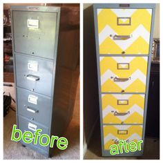 Might try to refinish the filing cabinete in with the same fabric I pick for the storage bench......Refinished filing cabinet with Chevron stripes... Pretty fun & practical weekend DIY!