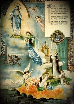 An artist's beautiful depiction of the offering up of the Holy Sacrifice of the Mass in union with the Immaculata, for the poor souls in purgatory.