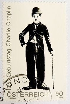great stamp Austria 90c (portrait Charlie Chaplin, 125th anniversary of birthday)