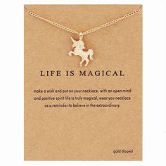 "The unicorn statement necklace was handcrafted with sturdy copper alloy material in a silver and gold color. You can choose to purchase it with our without a beautiful ""life is magical"" statement card"