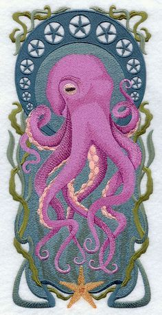 Art Nouveau Octopus--The only reason I want a computerized embroidery machine.