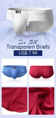 46b83155571f Sexy Super Thin Ice Silk Underwear Pure Color Transparent Breathable  Elastic Pouch Brief #mens #underwear #comfy