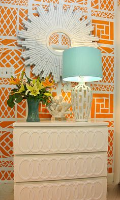 Orange and blue Palm Beach Chic... love the coral and the trellis!