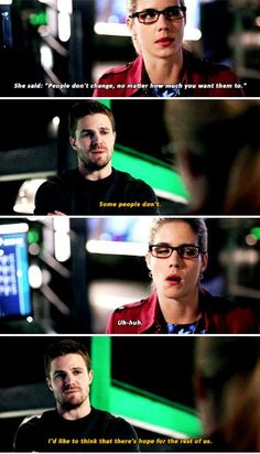 """People don't change, no matter how much you want them to"" - Felicity and Oliver Arrow Felicity, Oliver And Felicity, Stephen Amell Arrow, Arrow Oliver, Supergirl 2015, Supergirl And Flash, Arrow Tv Series, Superhero Shows, Arrow Cast"