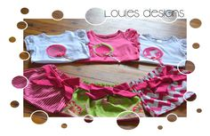 Louie's designs. Lollipop shirt. Bow skirt. Chevron. Paisley. Stripes.