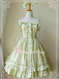 Sweet Light Green Pure Cotton Ruffles Lolita Jumper Skirt - Milanoo.com