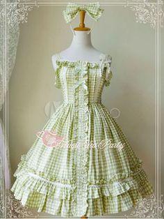 Sweet Light Green Pure Cotton Ruffles Lolita Jumper Skirt - Milanoo.com