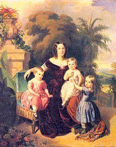 Pedro Afonso sentado no colo de sua mãe, a imperatriz Teresa Cristina, e cercado por suas duas irmãs, Isabel e Leopoldina, em uma pintura de Ferdinand Krumholz (1850).