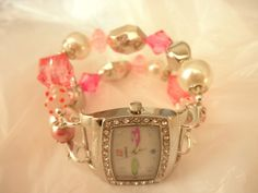 Pink,White,and Silver Chunky Watch Band   jnldesigns - Jewelry on ArtFire