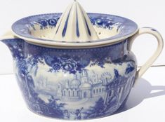 Fine French Toile Porcelain China Indvidual Juicer Blue