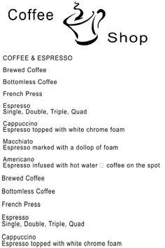 Custom Coffee Shop Menu Board : Front