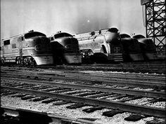 Super Chief and El Capitan Locomotives from Santa Fe sitting in the railyard