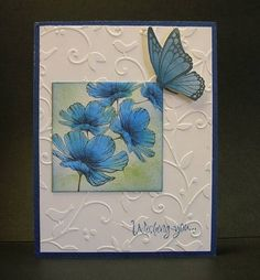 I like the idea of using an embossed background with a colored image like this and I like the dimension the popped up butterfly lends to this card. Very nice!