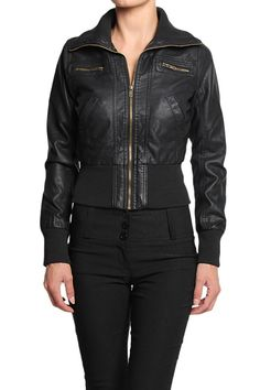 TheMogan Faux Leather Zip Up Jacket with Knit Collar