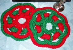 Hand Crocheted Red and Green Hot Pads, Vintage Unused by HeronBlueVintage on Etsy