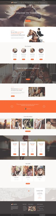 Buy Happy Rider - Horse-Riding School WordPress Theme by AncoraThemes on ThemeForest. CURRENT VERSION (see Change log at the bottom of this page) Happy Rider is a user friendly WordPress Theme wi. Website Layout, Website Themes, Web Layout, Maquette Site Web, Horse Riding School, Marketing, Site Vitrine, Wordpress Website Design, Website Design Inspiration