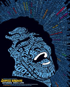 How creative can you get with fonts and typography? Well here is a a rock illustration made of text and different fonts for a James Brown concert. James Brown, Creative Typography, Typography Poster, Typography Portrait, Poster Art, Vintage Typography, Typography Design, Rock Posters, Band Posters