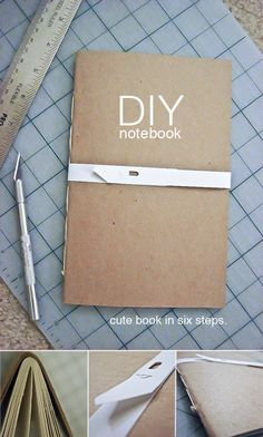 DIY notebook - This little book is adorable and very easy to make. 1. Cut chip board and paper sheets to the same size (I used 8.5×11 paper). 2. Fold chip board and paper in half. 3. Use an awl and poke holes along the fold (spine) an inch apart. 4. Use book binding thread and needle to sew string through the holes. Pull taut and finish with a knot. 5. press firmly along folded spine to close book. 6. Use xacto knife and straight edge to trim excess paper from side opposite spine.