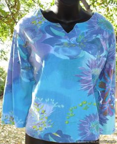 PHOOL Blue Floral Sublimation 3/4 Sleeve Top Size L Cotton #Phool #KnitTop #Casual