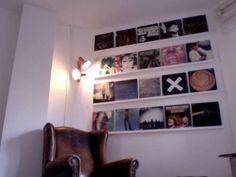 Vinyl record display using plastic tile trim