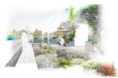 White Plants blend background at bottom of render.  Future Green : Portfolio : 345 MEATPACKING