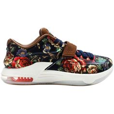 """Nike KD 7 EXT QS """"Floral"""" ($300) ❤ liked on Polyvore featuring men's fashion, men's shoes, men's sneakers, shoes, sneakers, men, nike collectors, mens black shoes, mens floral print shoes and navy blue mens shoes"""