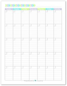Blank Monthly Calendar Printable With The Weeks Starting On Sunday. In A  Portrait Layout With