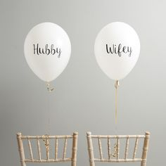 Set of 4 Hubby and Wifey Balloon Chair Backs Add a twist to your wedding seating plan with these gorgeous Wifey and Hubby balloons! Simply inflate and attach to the back of the bride and groom / brides / grooms chairs for a beautiful sea Seating Plan Wedding, Wedding Chairs, Wedding Table, Wedding Day, Wedding Decor, Giant Balloons, Latex Balloons, The Balloon, Wow Products