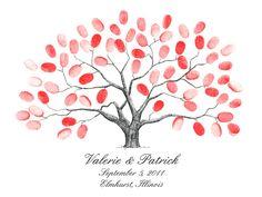 Fingerprint Tree Wedding - Birds - -Baby Shower Tree Guestbook (PDF ...