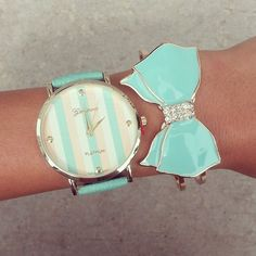 light blue bow bracelet bow jewelry fashion jewelry 2013 fashion jewelry for… Bow Jewelry, I Love Jewelry, Jewelry Accessories, Fashion Accessories, Women Jewelry, Fashion Jewelry, Bow Bracelet, Bracelet Watch, Cute Watches