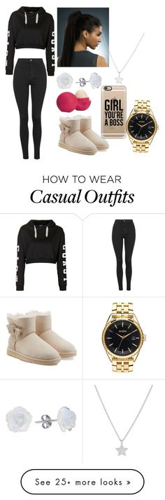 Casual by tyanna955 on Polyvore featuring Topshop, UGG Australia, Eos, AeraVida, Casetify, Nixon, La Preciosa, womens clothing, women and female