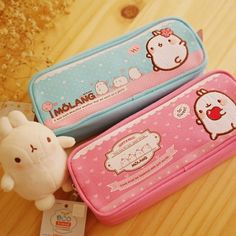 Molang Pencil Cases  I've never seen this character before but he/she looks so cute :3