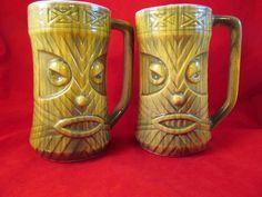 2 vtg 1960's lime green ceramic tiki mugs Westwood Japan Very RARE Vintage