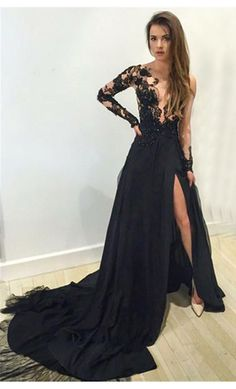 Black Prom Dress,Long Prom Dresses,A line prom Dresses,Evening
