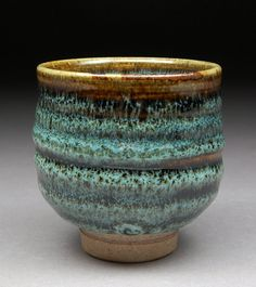 "Ash Tenmoku and Nuka Glazed Yunomi Tea Cup with Unique One of a Kind Glaze finish."" by shyrabbit"