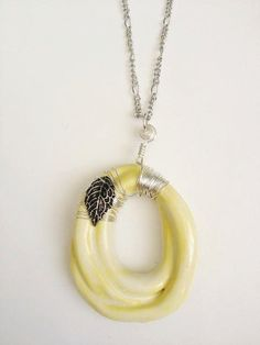 Georgeous Lemon Yellow Ceramic Pendant Necklace with Wire Wrapped Silver Leaf Charm