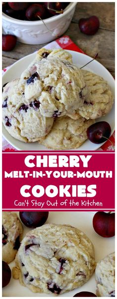 Cherry Melt-In-Your-Mouth Cookies - Dessert Recipes Cherry Desserts, Cherry Recipes, Köstliche Desserts, Summer Desserts, Delicious Desserts, Dessert Recipes, Yummy Food, Recipes With Fresh Cherries, Bar Recipes