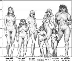 AD&D Racial Height/Weight Comparison: Female (Warning: NUDITY) - Fantasy Art